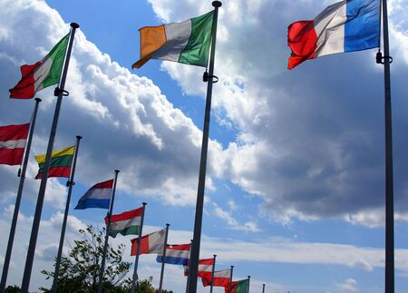 Flags of all countries that include in European Union