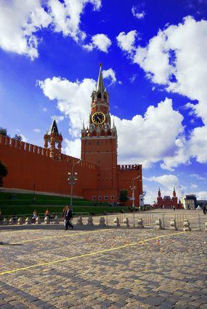 spasskaya: Spasskaya Tower of Kremlin on the Red Square Stock Photo