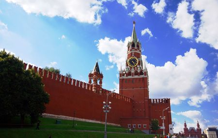 Spasskaya Tower of Moscow Kremlin on the Red Square