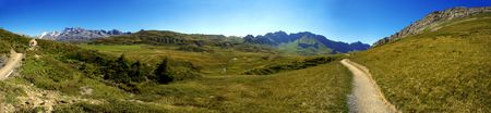 Hiking path in swiss mountains. Panorama view.