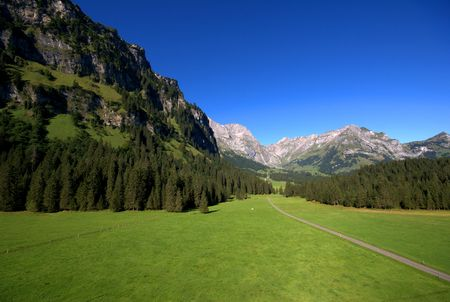 Typical swiss mountains landscape in central Switzerland, Endelberg.