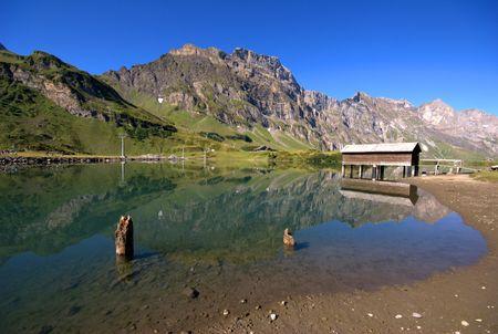 Lake in valley of Endelberg in swiss Alps.