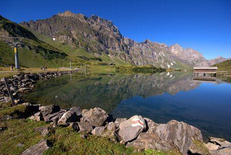Mountain lake in Endelberg region in Switzerland