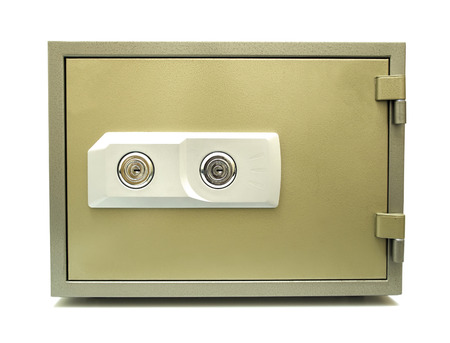 Fireproof safe with two locks on a white background Stok Fotoğraf