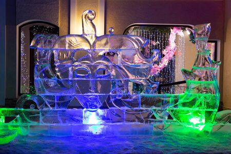 ice sculpture: Nizhny Tagil, Russia - January 11, 2015: Ice sculpture snow queen. New Years favorite holiday in Russia