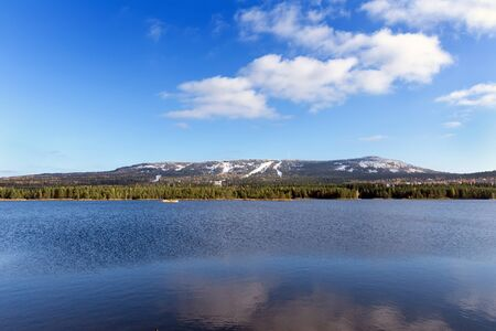 ural: Panorama of the Ural mountains and blue lake
