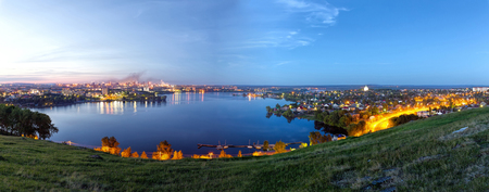 White nights in the city. Panorama of the city at night. View from above Stock Photo