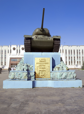 NIZHNY TAGIL - SEPTEMBER 19: Legendary Soviet tank T-34 on a pedestal on September 19, 2012, Nizhny Tagil, Russia. Tank T-34 the most massive tank of the Second World War