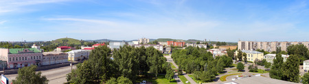 blue widescreen widescreen: Panorama of the central historic district of the city Nizhny Tagil