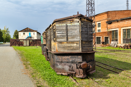 Old railroad snow plows Stock Photo