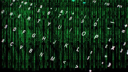 Computer keyboard and matrix coding Stock Photo