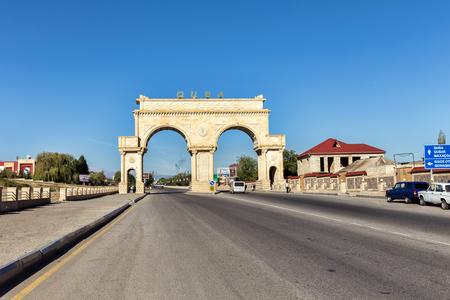 Quba, Azernaijan - September 22, 2015: Arch at the entrance to the administrative region of Quba. The Republic of Azerbaijan Editorial