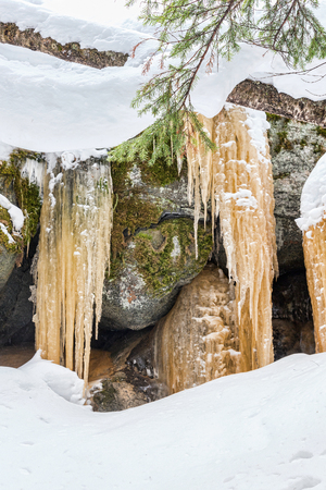 appearance: Frozen waterfall in the winter forest