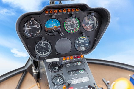 altimeter: The dashboard panel in a helicopter cockpit Stock Photo