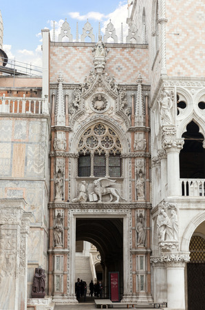 doge's palace: Venice, Italy - November 04, 2013: Architectural detail of the Doges Palace. Venice is one of the most popular tourist destinations in the world