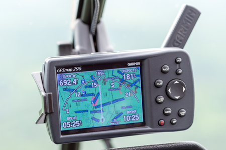 The dashboard panel in a helicopter cockpit Stock Photo
