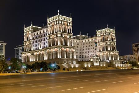 The Government house on Freedom square at night. Baku. Azerbaijan Stock Photo