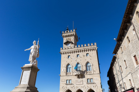 Central square of San Marino. Public Palace and statue of Liberty