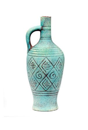 Blue Ceramic Jug Vase With Handle Isolated On White Background