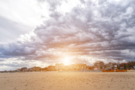 adriatico: Rimini, Italy - September 09, 2016: Beach on the Adriatic Sea. Rimini. Italy