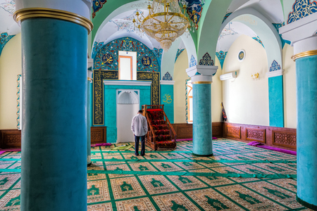 Baku, Azerbaijan - September 26, 2015: The mihrab in mosque of Heydar cuma mascidi. Built in 1893 Editorial