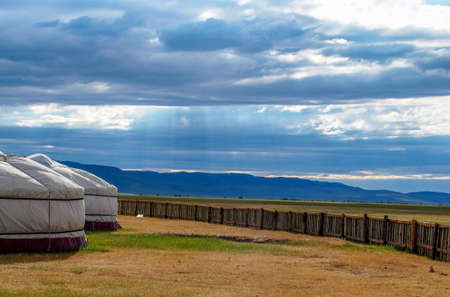 Stormy Skies Over Ger Camp in Mongolia