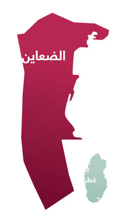 Simplified map of the district/ region of Al Daayen in Qatar with Arabic for