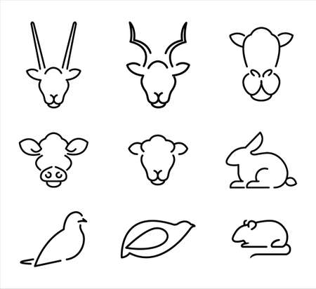 A line-art set of farm animals. Isolated vector file. Illustration