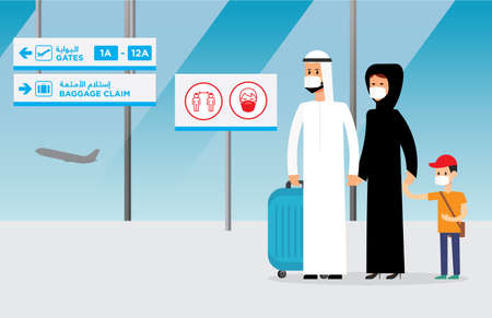 Arab family traveling taking precautions  against virus/germ spreading. Editable vector file. Vectores