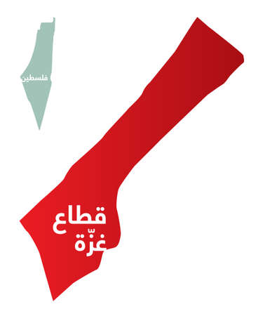 Simplified map of the Gaza Strip with Arabic for