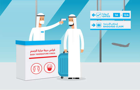 """Airport safety measurements. Arabic for """"Body temperature check"""". Isolated vector file. Ilustracje wektorowe"""
