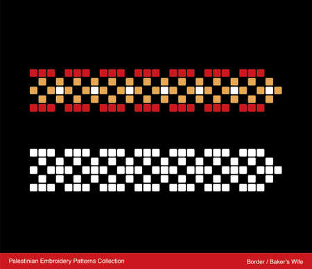 Traditional Palestinian Embroidery Pattern Border (Baker's Wife). Editable Vector file.