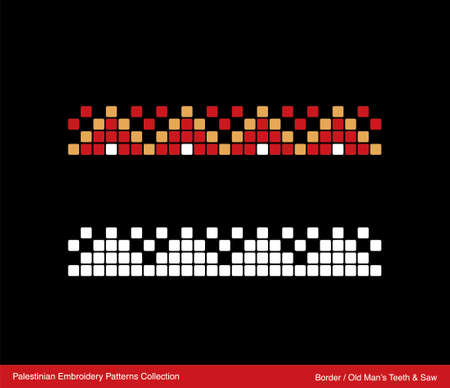 Traditional Palestinian Embroidery Pattern Border (Old Man's Teeth & Saw). Editable Vector file. Ilustração