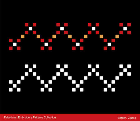 Traditional palestinian Embroidery Pattern (Zigzag). Isolated Vector file.