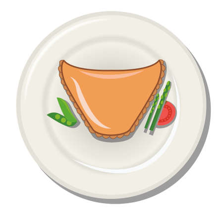 fine dining: meat pie and vegetables on a plate