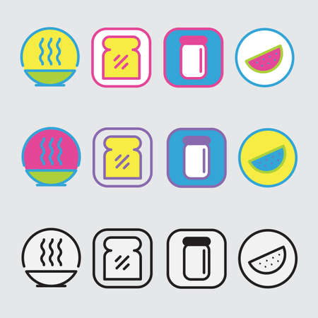 different ways: icons of different ways to package food Illustration