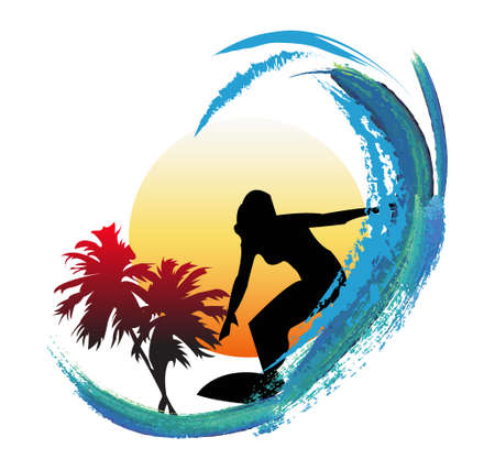 palmtree: silhouette of a woman surfing in front of a sunset