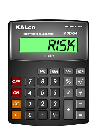 calculated: Illustration of an expression, calculated risk. A word risk displayed on digital calculator's LCD monitor. Stock Photo