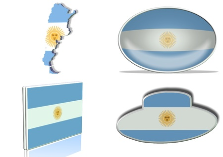 Argentinian flag in 4 different designs, in shape of the country, oval shape, flat on an angle, in a shape of a national symbol. photo