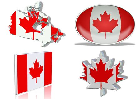 Canadian flag in 4 different designs, in shape of the country, oval shape, flat on an angle, in a shape of a national symbol. photo