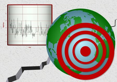 earthquake: Illustration of earthquake with seismic waves diagram, position of epicentre on globe and ground split open in background