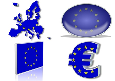 European union flag in 4 different designs, in a shape of all eu  countries, oval shape, flat on an angle, in a shape of euro Stock Photo - 9267458