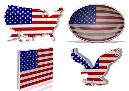 USA flag in 4 different designs, in shape of the country, oval shape, flat on an angle, in a shape of a national symbol.