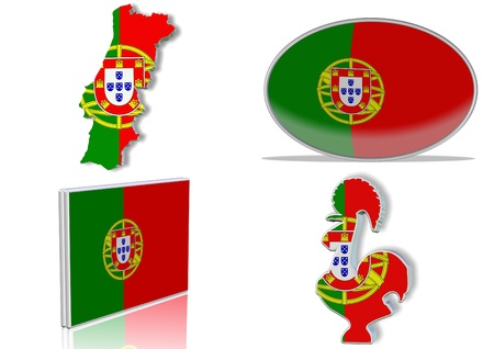 portugal flag: Portuguese flag in 4 different designs, in shape of the country, oval shape, flat on an angle, in a shape of a national symbol.