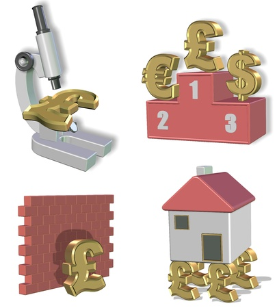 Pound under microscope, pound as a winner in front of other currencies, pound hit the wall, in front of wall, stops here, pound holding household or house stable, good foundation for a house. photo