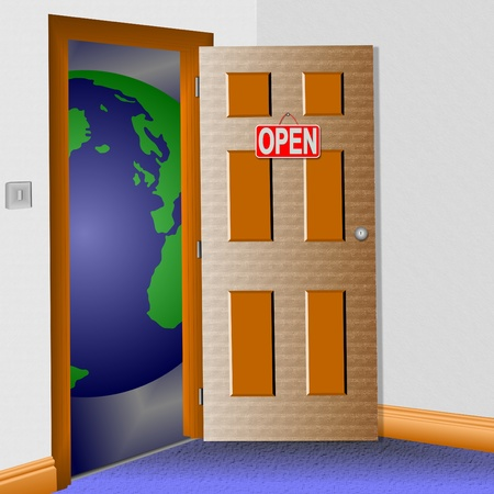 An illustration of a room with an open door and the world in front of it. Stock Photo