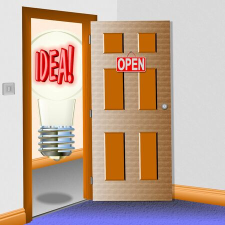 open minded: An illustration of a room with an open door and a bulb with a word idea in front of it. Stock Photo