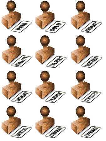 A collection of wooden rubber stamps on a white background photo