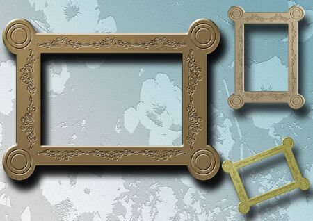 cherish: Group of photo frames with floral background