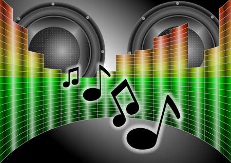 Equalizer graph in semi circle and a pair of speakers with music notes coming from them Stock Photo - 9604989